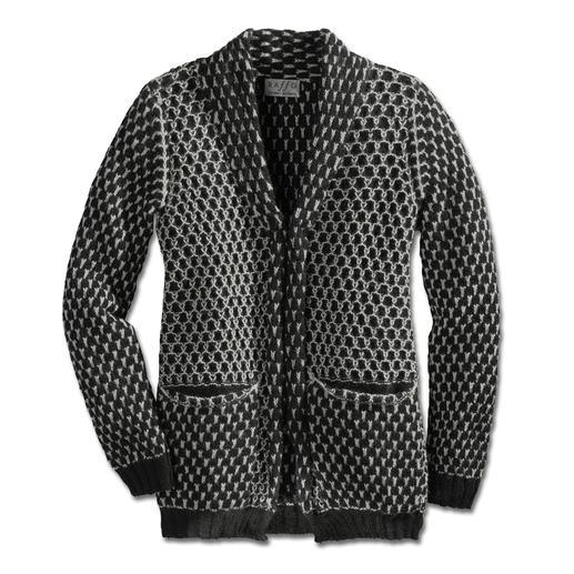Alpaka Waben-Jacke Schwarz/Weiß, Waben, Kastenform: Eine so zeitgemäße Alpaka-Jacke ist schwer zu finden. Vom Spezialisten Raffa in Peru auf Handstrickmaschinen gefertigt.