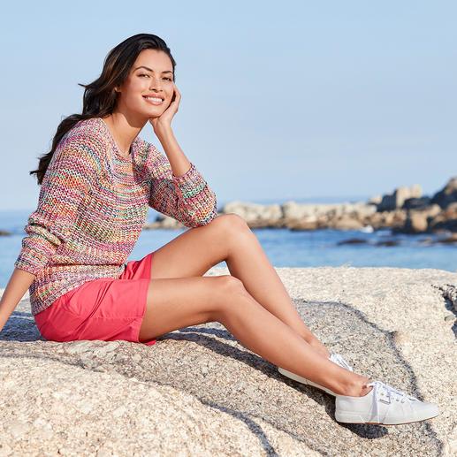 Multicolor-Baumwollpullover 15 Farben – für unzählige Kombinationen. Aus handgefärbter Baumwolle: Jeder Pullover ein Unikat.