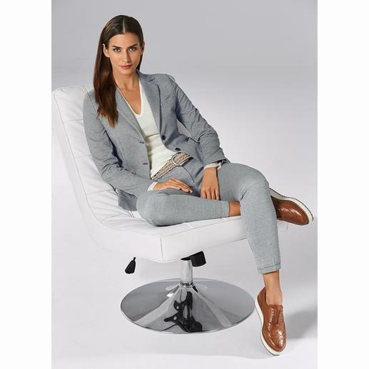 Circolo Jersey-Anzughose oder -Blazer Die Optik edler Anzugtuche – der Tragekomfort von Homewear. Gestrickter Jersey, modisch konfektioniert. Von Circolo 1901.