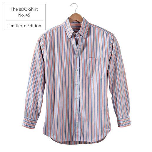 The BDO-Shirt No. 45, Gestreift Entdecken Sie einen guten alten Freund. Und vergessen Sie, dass ein Hemd gebügelt werden muss.