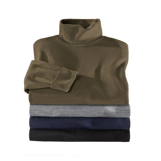 John Smedley Rollkragen- oder V-Pullover Der Pulli aus Merinowolle von John Smedley wiegt weniger als 300 Gramm. Passt in jede Aktentasche.