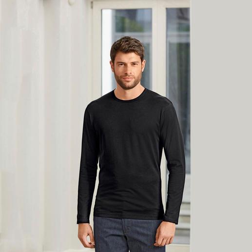 Langarm, Rundhals-Shirt, Schwarz