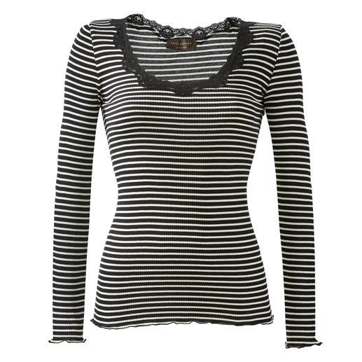 Rosemunde Copenhagen Ringel-Spitzenshirt Luxuriöser Seiden-Jersey. Feminine Spitze und Wellensäume. Die Edel-Variante des geringelten Basic-Shirts.