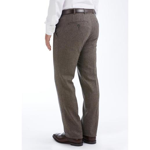 Soft-Donegal Tuchhose Original Donegal-Tweed. Unvergleichlich weich dank 46 % Baumwolle. Typisch kernig-genoppter Charakter. Gewebt von Abraham Moon & Sons in England.