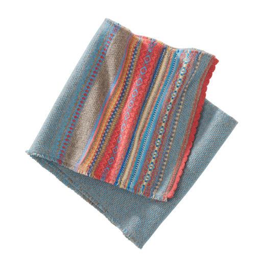 Eribé Fair-Isle-Schal Das seltene schottische Original unter den aktuellen Muster-Schals. Modern interpretierter Fair-Isle-Strick aus reiner schottischer Lambswool. Von Eribé.