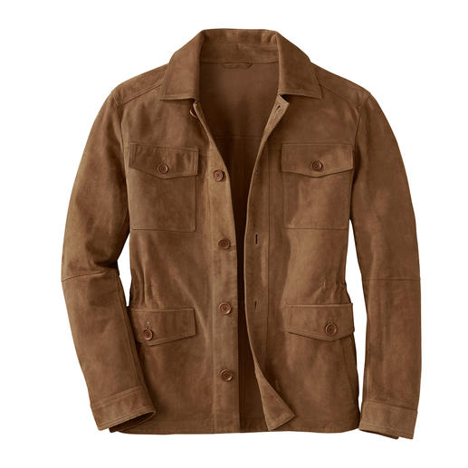 Karl Lagerfeld Ziegenvelours-Fieldjacket - Die beste Lederjacke für den Sommer ist aus seidenweichem Ziegenvelours. Luftig-leicht, da ungefüttert. Von Karl Lagerfeld.