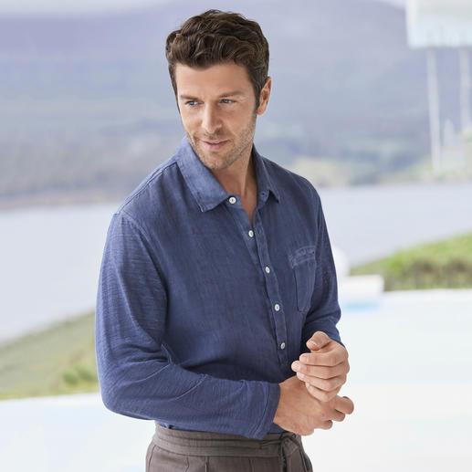 Komfort-Leinenhemd Das elastische unter den Leinenhemden – mit Jersey-Rücken und -Ärmeln.