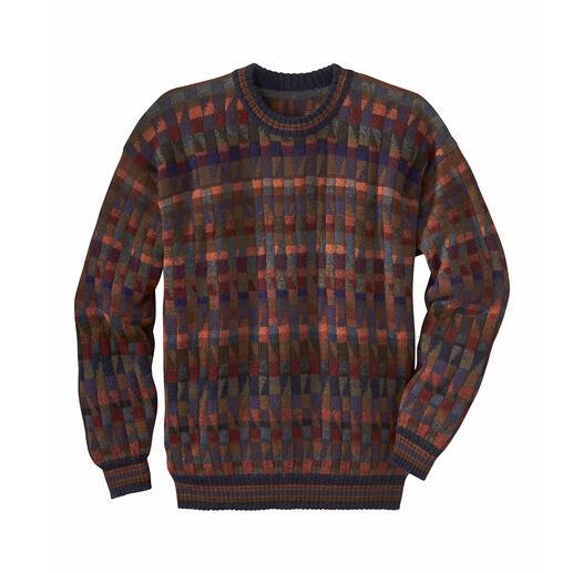 Das Kunstwerk aus den Anden: 100 % Alpaka. Handgefertigt in 28 (!) Farben. Dieses Mosaik ist nicht gelegt, sondern gestrickt.