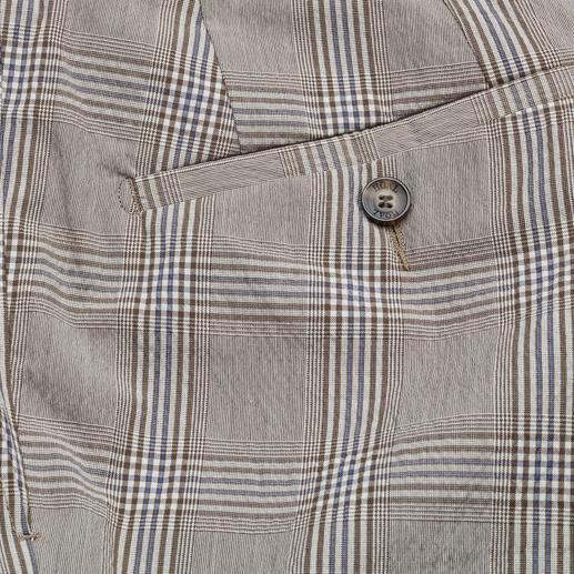 Hoal Woll-Seersucker-Hose Sie fühlen luftigen Seersucker. Die anderen sehen elegantes Anzug-Tuch.