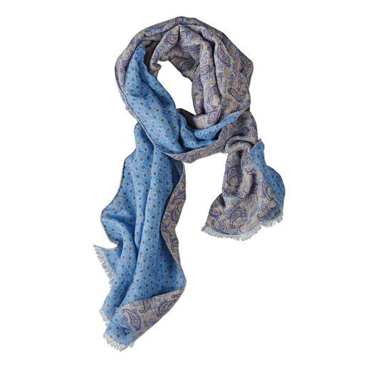Luftig dank Leinen mit Baumwolle. Kombifreudig durch kunstvollen Double-Print. Der herrlich leichte, vielseitige Sommer-Schal. Von Pellens & Loick, seit 1870.