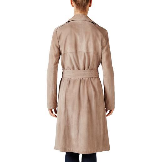Arma Ziegenvelours-Trenchcoat Außergewöhnlich edel: Mode-Evergreen und Style-Allrounder Trenchcoat aus feinstem, ungefüttertem Ziegenvelours-Leder.