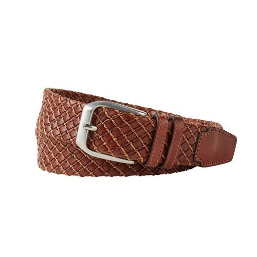 Business-Leder-Flechtgürtel - So elegant kann ein Leder-Flechtgürtel sein: Softes Kalbleder. Feine Flechtung. Puristisch cleane Schließe.