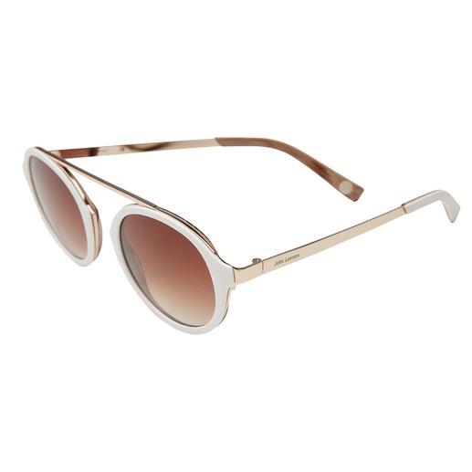 Cool-white-Sonnenbrille Die elegante Sonnenbrille zum Weiß-Trend. Angesagt runde Gläser. Retro-Form ohne Nasensteg. Erschwinglicher Preis.