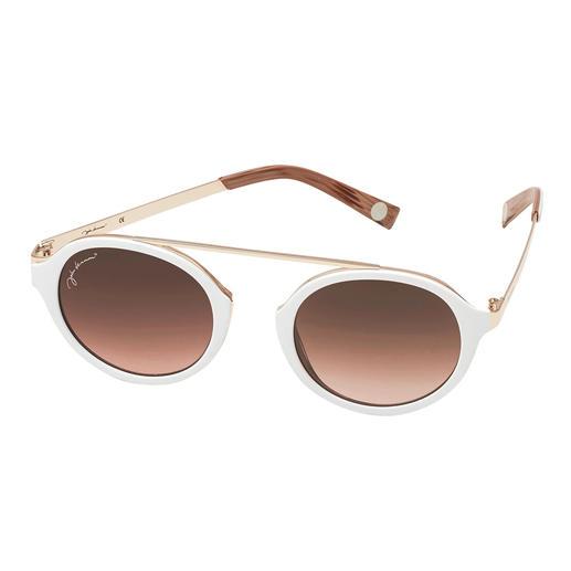 Cool-white-Sonnenbrille - Die elegante Sonnenbrille zum Weiß-Trend. Angesagt runde Gläser. Retro-Form ohne Nasensteg. Erschwinglicher Preis.