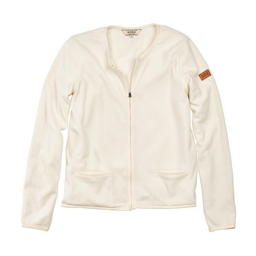 Selten elegant: die Polartec®-Microfleece-Jacke im Couture-Stil. Selten elegant: die Polartec®-Microfleece-Jacke im Couture-Stil.