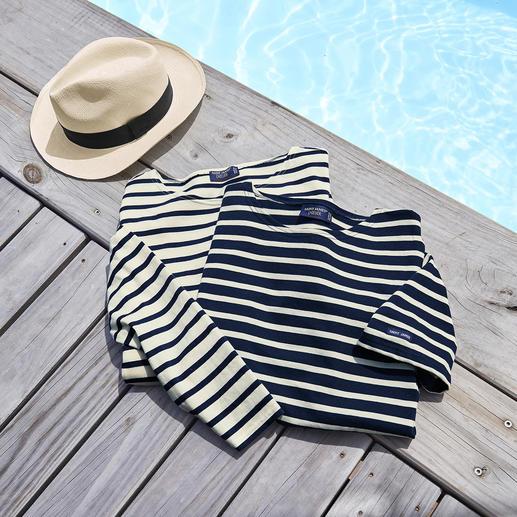 Langarm-Shirt, Ecru/Marine und T-Shirt, Marine/Ecru