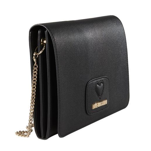 Love Moschino Flat-Bag Flat-Form. Fellbommel. Label-Schriftzug: die hochaktuelle Designertasche zum erschwinglichen Preis. Von Love Moschino.