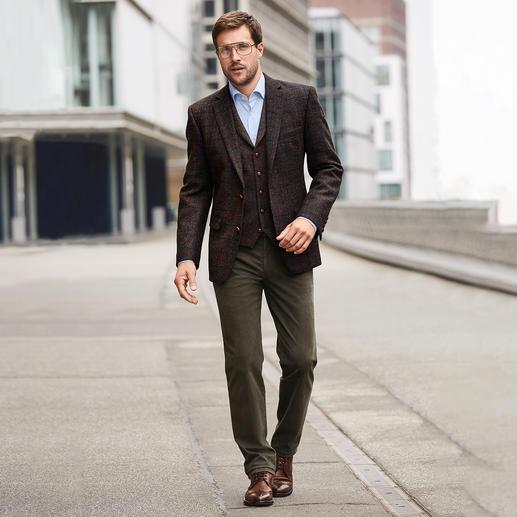Carl Gross Harris Tweed-Sakko oder -Weste Original Harris Tweed  – aber viel feiner und leichter als üblich. Sakko und Weste von Carl Gross.
