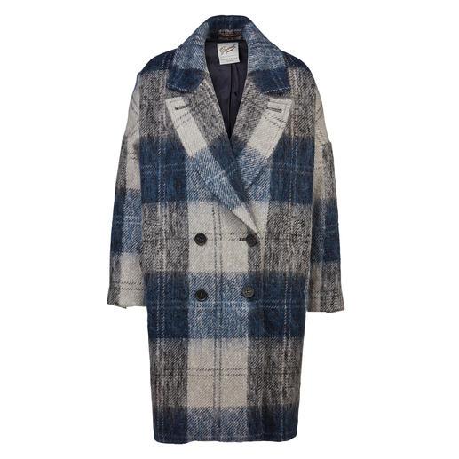 Gloverall Oversize-Mantel - Trend und Tradition perfekt kombiniert: der karierte Oversize-Wollmantel mit flauschigem Mohair.