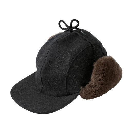 Filson Mackinaw-Kappe Reine Schurwolle und echtes Lammfell: Wärmer als die meisten modernen Funktions-Kappen.