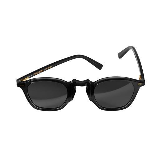 Movitra® Dreh-Sonnenbrille - Die topmodische und doch zeitlose Sonnenbrille: Aktuelles Schwarz/Schwarz. Handfertigung in Italien.