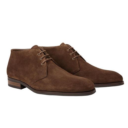 So modisch schmal und elegant können wärmende Lammfell-Schuhe sein. Der Chukka-Boot von Profession Bottier, portugiesische Schuhmacher-Tradition seit 1947.