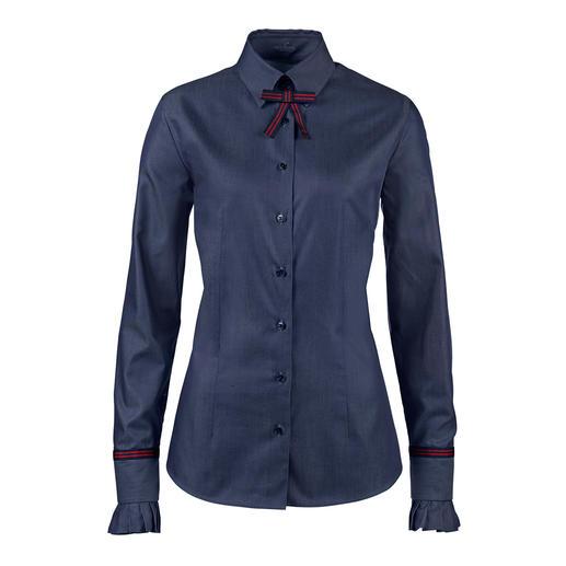 Denim-Look mit businesstauglicher Blusen-Eleganz. Denim-Look mit businesstauglicher Blusen-Eleganz. Aus merzerisierter Baumwolle fein gewebt.