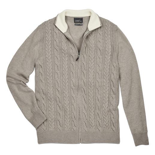 Maselli Zopfstrick-Zipp-Jacke Die elegante Ausnahme unter den vielen rustikalen Zopfstrickjacken. Made in Italy von Maselli.