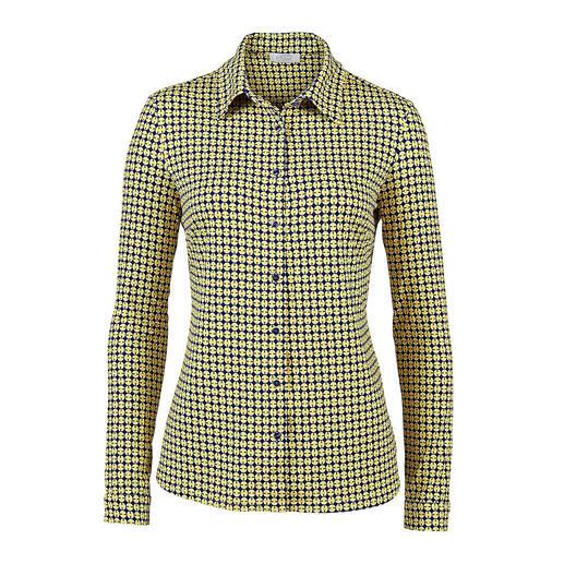 Elegant wie eine Bluse. Bequem wie ein Shirt. Die Hemdbluse aus seidigem Viskose-Jersey: Elegant wie eine Bluse. Bequem wie ein Shirt.