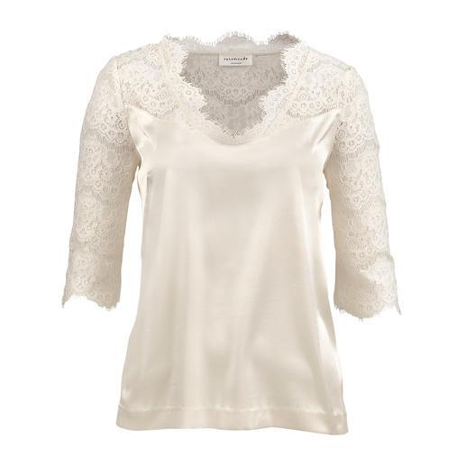 Rosemunde Copenhagen Spitzen-Blusenshirt Die Optik einer Bluse. Der Komfort eines T-Shirts. Skandinavisches Design von Rosemunde Copenhagen.