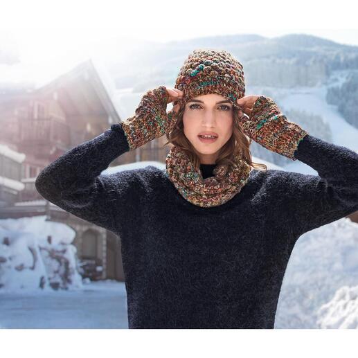 Kero Design Dornröschen-Beanie-Mütze, -Fingerlos-Handschuhe oder -Loop-Schal