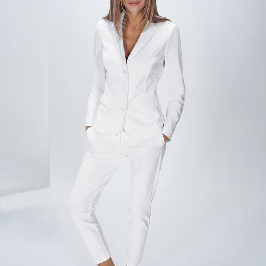 The Pure Barbara Schwarzer Easy-Care-Anzughose oder -blazer Trend-Thema weißer Hosenanzug – aber bitte waschmaschinenfest! Aus innovativem, elastischem Hightech-Jersey.