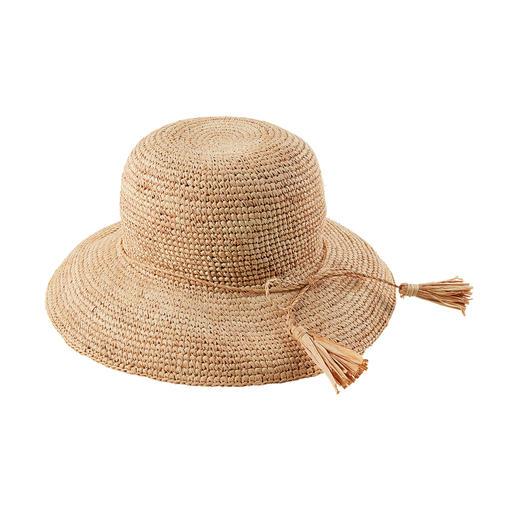 Loevenich Raffia-Hut Soft und flexibel statt steif und sperrig: der bruchfeste Strohhut aus Raffia-Bast. Handgehäkelt.