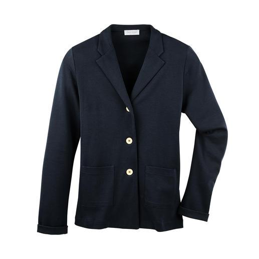 Der 265 g-Blazer aus feinem, italienischem Baumwoll-Jersey. Korrekt wie ein Blazer. Leicht und luftig wie ein T-Shirt.