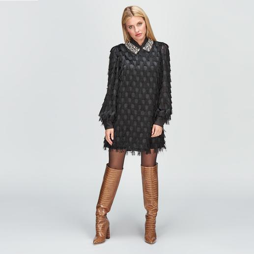be Blumarine Black Dress Fransen, Punkte, Schmuckkragen: spektakuläres Blumarine-Design – aber nicht zum Designerpreis.