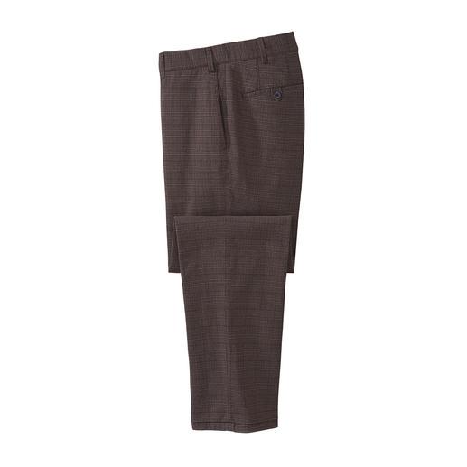 Businesskorrekte Schurwoll-Optik – aber aus weichem, kratzfreiem Baumwoll-Flanell. Die Glencheck-Hose vom deutschen Hosen-Spezialisten Hiltl.