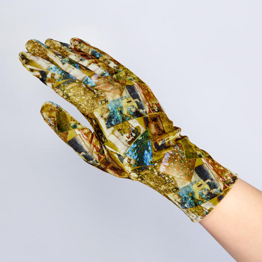 Goldy Klimt Samt,  goldfarben/gemustert