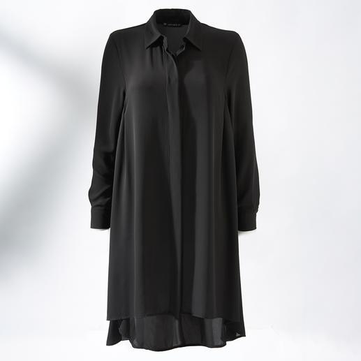 Die schwarze Longbluse im perfekten Kleiderschnitt: Nominiert zum meist getragenen Lieblingsstück. Feminin schwingend. Nahezu knitterfrei. Maschinenwaschbar.