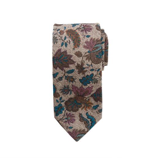 Blüten-Druck auf Seiden-Tweed: Muster und Material machen diese Krawatte so interessant. Blüten-Druck auf Seiden-Tweed: Muster und Material machen diese Krawatte so interessant.