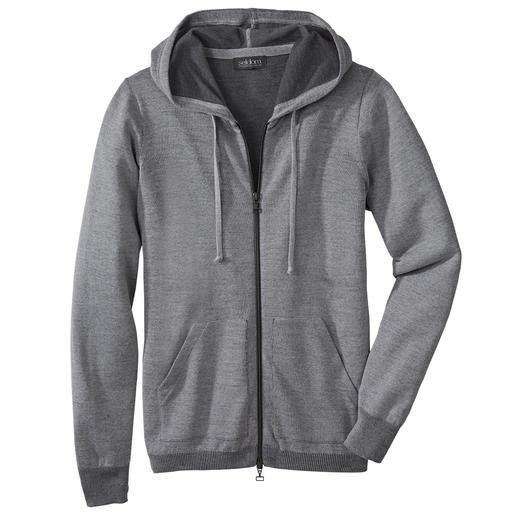 Seldom Herren-Doubleface-Strickjacke Das Verwöhnprogramm dieser Jacke: außen feine Merino-Wolle, innen weiche GIZA-Baumwolle.
