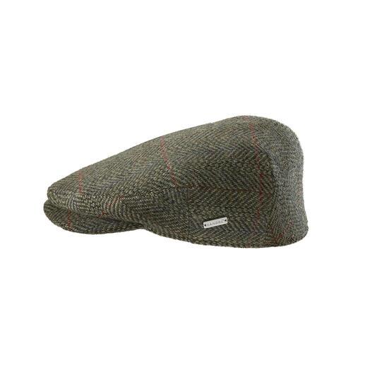 """Selten zu finden: eine Tweed-Schiebermütze, die noch """"made in England"""" ist. Gewebt von Abraham Moon & Sons, einer der letzten Vollstufen-Webereien Großbritanniens."""