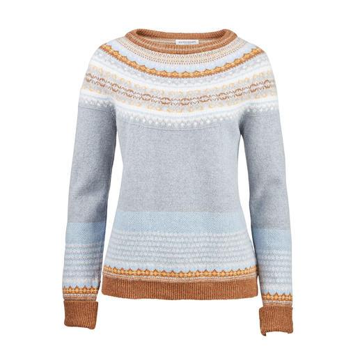 6Farben Fair-Isle-Pullover Kunstvoller und seltener Fair-Isle- Jacquard aus 6 zeitgemäßen Farben.