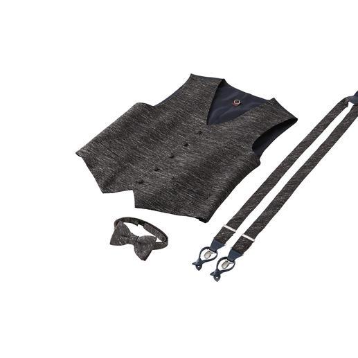 Ascot Donegal-Schleife,-Hosenträger oder -Weste Stoffgleich wie vom Maßschneider: das ausgefallene Accessoire-Set aus Weste, Schleife und Hosenträgern.