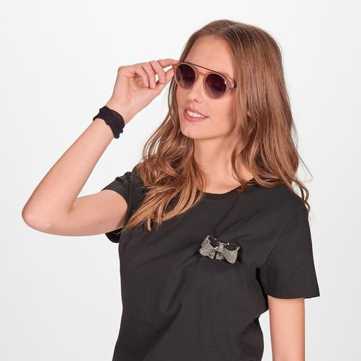 Die elegante Sonnenbrille zum Nude-Trend. Die elegante Sonnenbrille zum Nude-Trend. Angesagt runde Gläser. Retro-Form.