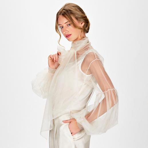 L`Autre Chose Tüll-Bluse Ballonärmel. XL-Schluppe. Transparenter Tüll. Das extravagante Highlight unter den Trendblusen kommt von L`Autre Chose .