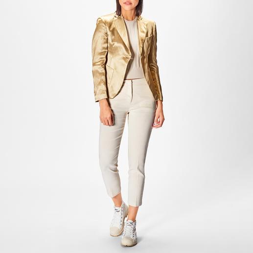 L`Autre Chose Gold-Hose oder -Blazer L`Autre Chose bringt den Hosenanzug auf High-Fashion-Level: mit der Trendfarbe Gold und angesagtem Leinen-Look.