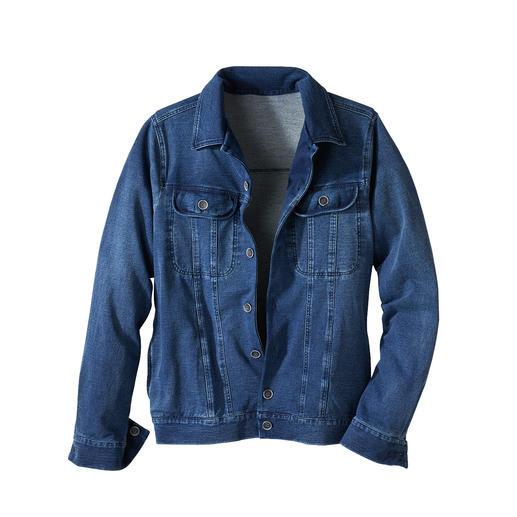 Der Klassiker Jeansjacke – endlich so bequem wie Ihr Lieblings-Cardigan. Aus softem, elastischem Jersey-Denim.