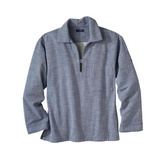 Das bretonische Fischerhemd im aktuellen Workwear-Trend. Aus robustem Baumwoll-Twill – winddicht und strapazierfest. Von Saint James.