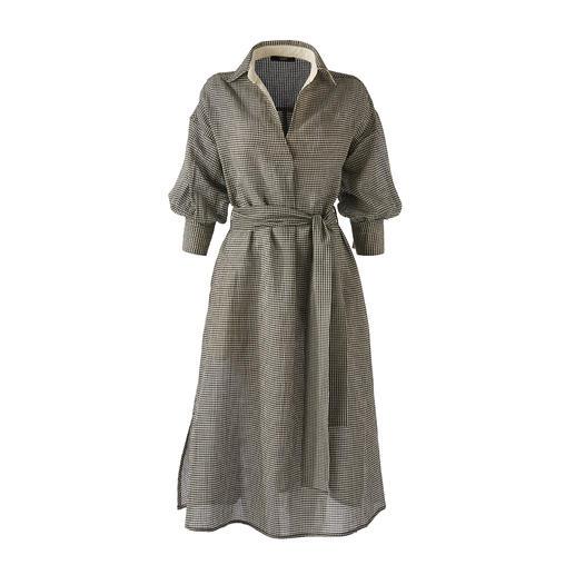 Selten feminin: das Blusen-Kleid aus luftigem Baumwoll/Leinen-Seersucker. Selten feminin. Ein echtes Lieblingsstück für den Sommer. Vom Edel-Label Seventy Venezia.