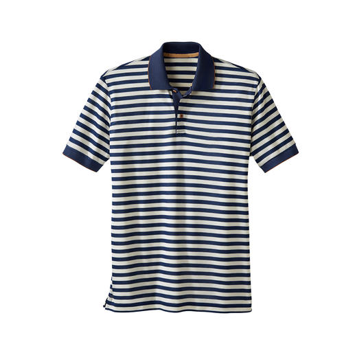 Piqué-Streifen-Poloshirt Das Piqué-Shirt mit dem seidenweichen Unterschied.